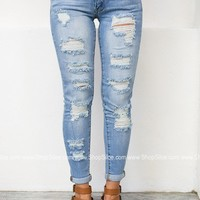Vacay Destroyed Cuffed Denim