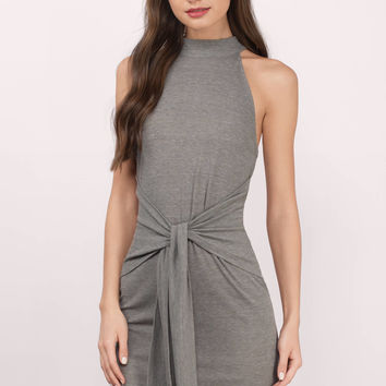 Diem Ribbed Front Tie Bodycon Dress