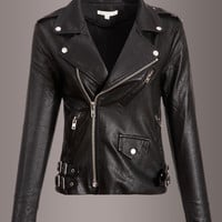 Wild Thing Vegan Leather Slim Fit Biker Jacket