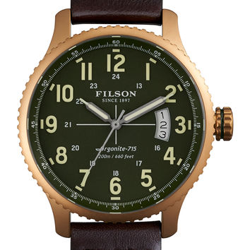 43mm Mackinaw Field Brass Watch with Leather Strap, Brown/Green - Filson