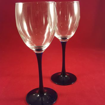 Crystal Champagne Flutes with Cobalt Blue Stems  S/2