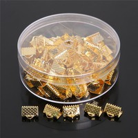 8x10mm 100pcs Rhodium/Gold Plated Textured End Caps Crimp Beads For Jewelry Making DIY Jewelry Findings (Contain Box)