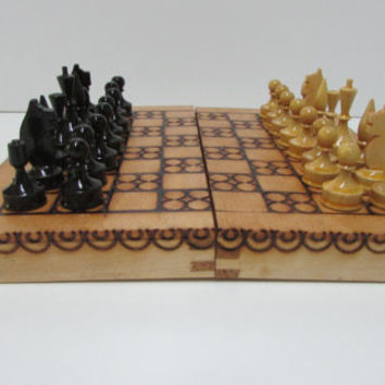 Vintage Small Chess Game, Vintage Wooden Chess Game, Handmade Mini Chess Game, Small Vintage Wooden Box, Rustic Wooden Box, Vintage Game