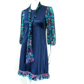 Custo Barcelona Dress Navy Blue Silk with Printed Sleeves Designed in Spain