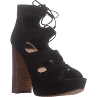 Vince Camuto Kamaye Platform Dress Sandals, Black Suede, 8 US / 38 EU
