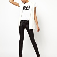 River Island | River Island Leather Look Biker Jean at ASOS