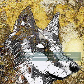 Gray Wolf Art Print, Animal Decor, Modern Nature Art Print, Unique Wildlife Artwork, Grey Wolf Decor, Living Room Decor, Wall Art Print