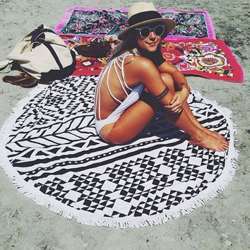100% Cotton Round Beach Towel 150*150cm/59*59'' Bath Towel Tassel Decor Geometric Printed Bath Towel Summer Style 1pcs/lot MYJ