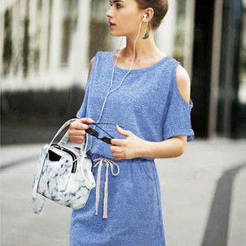 Shoulder Cut-Out Elastic Waist Short Sleeve Blouson Mini Dress