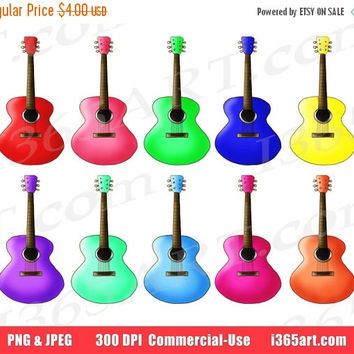 50% OFF SALE Guitars Clipart, Guitar Clip art, Rock star, Acoustic Guitar, Rock and Roll, Wooden Guitar, Printable, PNG, Download, Commercia