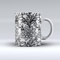 The Black and White Geometric Floral ink-Fuzed Ceramic Coffee Mug