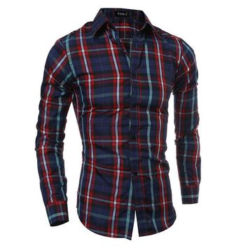 Long Sleeve Classics Plaid Men Casual Shirt [10831835139]