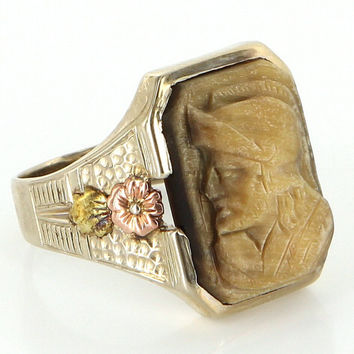 Antique Art Deco 14 Karat White Rose Gold Tigers Eye Mens Cameo Soldier Ring