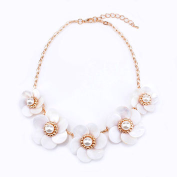 Big Flower Pearl Chain Statement Necklace