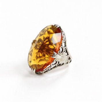 Vintage Art Deco Sterling Silver Simulated Citrine Ring - Antique 1920s Size 3 1/2 Filigree Orange Yellow Glass Stone Oval Statement Jewelry