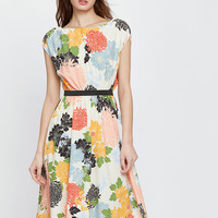Multicolor Flower A-Line Midi Dress