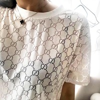 GUCCI Summer Popular Women Comfortable Translucent Round Collar T-Shirt Top White