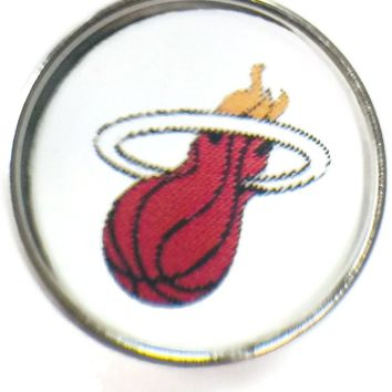 NBA Basketball Logo Miami Heat 18MM - 20MM Fashion Snap Jewelry Snap Charm New Item