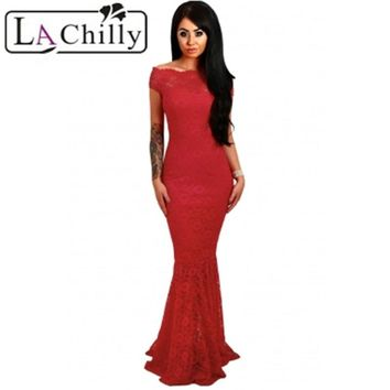 La Chilly 2018 Robe Longue Elegant Party Mermaid Bodycon Dresses Red Bardot Lace Fishtail Maxi Dress long Evening Gown LC61481