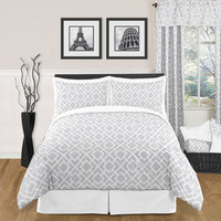 Sweet JoJo Designs Grey and White Diamond 3-piece Full / Queen-size Bedding Set | Overstock.com