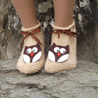 Owl Slippers Knit House Slipper, Home Slippers, Womens Crochet Shoes, Home shoes