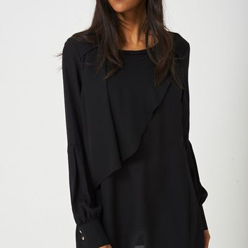 JOTHIRTY Ruffle Front Blouse with Balloon Sleeve in Black
