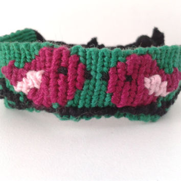 Birds in Love Friendship Bracelet - Adjustable Alpha Hand-woven Embroidery Floss Bracelet