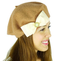 Caramel French Beret Hat Women's Accessories Big Ivory Bow Hat Caramel Earwarmers Chic Winter Hat Victorian Bow Hat Wool Hat Beret Cute