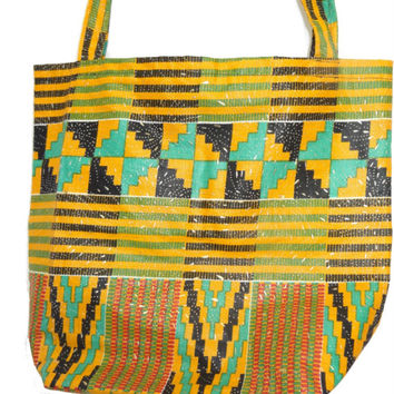 Color comb african wax print tote bag