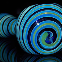 Big Blue Swirl Pattern Smoking Bowl - Large Curvy Round Shape Hand Pipe w/ Cartoon Like Bright Blue & Green Color