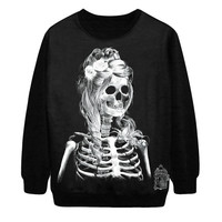 EAST KNITTING  New 2014  Women Hoody the skeleton bride printing Long Sleeve Sweatshirt Cute Fashion size S M L 021 = 1930019396