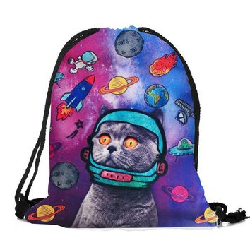 Space Cat Drawstring Bags Cinch String Backpack Funny Funky Cute Novelty