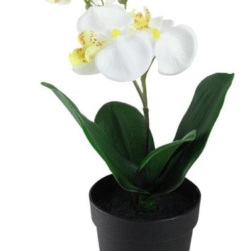 "10.75"" Potted White Phalaenopsis Orchid Artificial Silk Flower Arrangement"
