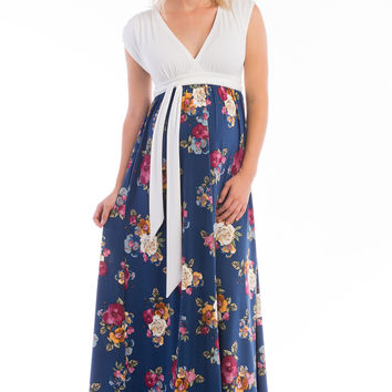 Nursing Maxi Dress Sky Blue/Navy Floral Combo