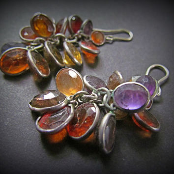 Silver Multi Gemstone Cluster Earrings~Amethyst, Carnelian, Quartz, Citrine, Amber~Gemstones~Multicolor earrings, Boho earrings