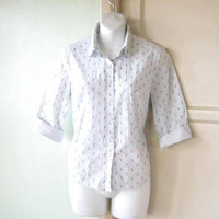 Light Blue Button Up Top w/ Three-Quarter Sleeves; Women's Small Cotton Blend Ditsy Print Casual Shirt; U.S. Shipping Included