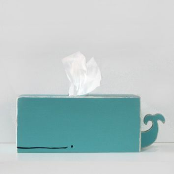 Whale Tissue Holder - Cyan - Ships on March 8th