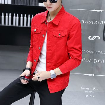 2017 HOHO   men's winter new trend of cultivate one's morality handsome Denim jacket