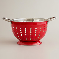 Red Stainless Steel Colander - World Market