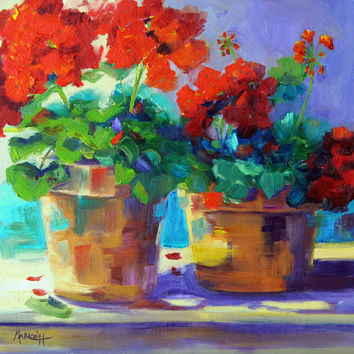 Impressionist Flower Painting, Summer Essence, Geranium container flowers, Summer Flowers, original oil painting by Marion Hedger, 12x12inch
