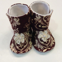 Baby Girl Infant Toddler Fleece Flannel Boot Warm Chocolate Brown Ivory