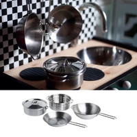 IKEA DUKTIG 5-piece cookware set, stainless steel pots and pans for kids