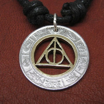 Harry Potter's Deathly Hallows Necklace , Two Tone Coin From México