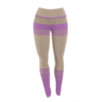"Brittany Guarino ""Art Purple"" Lavender Wood Yoga Leggings"
