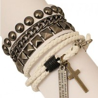 White Bracelet Set with Stud and Woven Detail