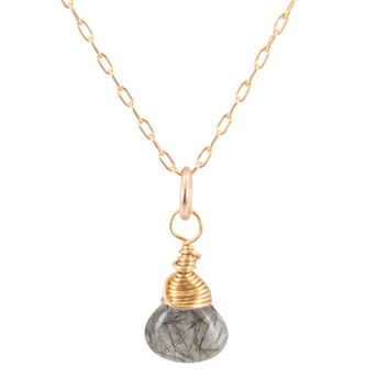 Tourmalinated Quartz Briolette Necklace on Gold Filled Chain, #6590S