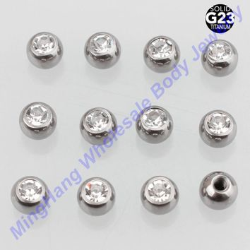2 pieces of Retail G23 Titanium Press Fit 16g*3mm Gem Ball Eyebrow Ring Labret Body piercing jewelry Nose Replacement Parts