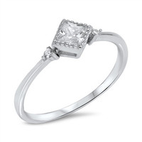 925 Sterling Silver CZ Simulated Diamond 6MM Sideways Princess Cut Ring