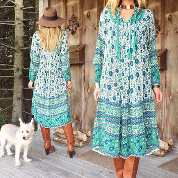 Vintage 1970s Dreamy GAUZE Indian Dress || Sage Green & Blue  || Dead Stock Festival Dress || Gauze Fabric || Size Small To Medium