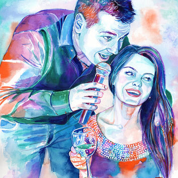 PERSONALIZED gift for the BRIDE and GROOM - Watercolor couple portrait painting